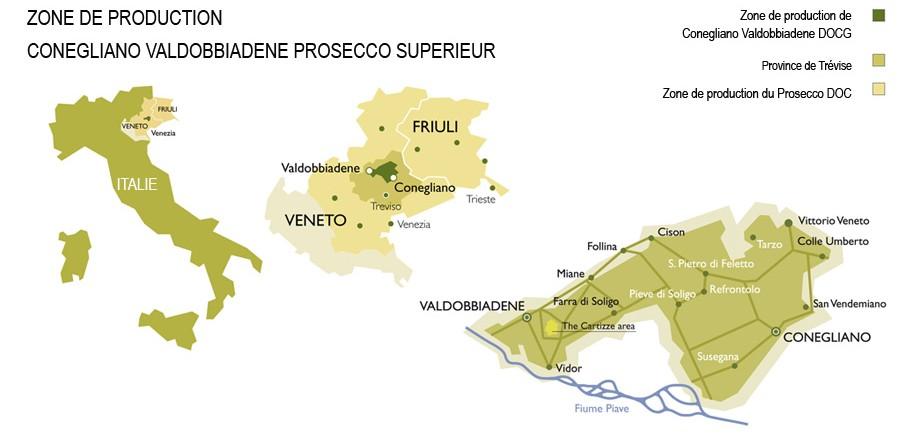 Zone de production du Prosecco supérieur